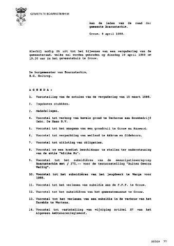 Boarnsterhim vergaderstukken gemeenteraad  1988-04-19