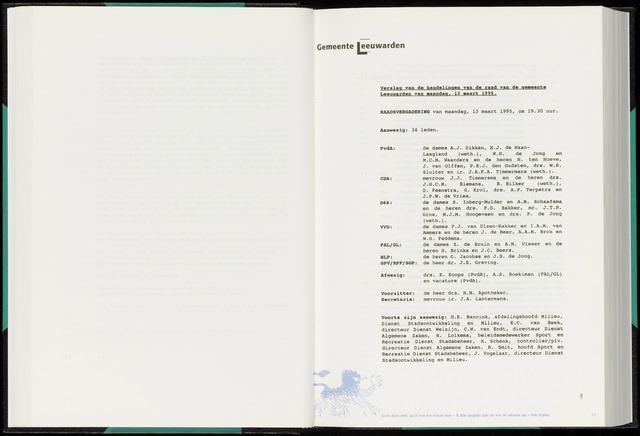 Raadsverslagen van de gemeente Leeuwarden, 1865-2007 (Notulen) 1995-03-13