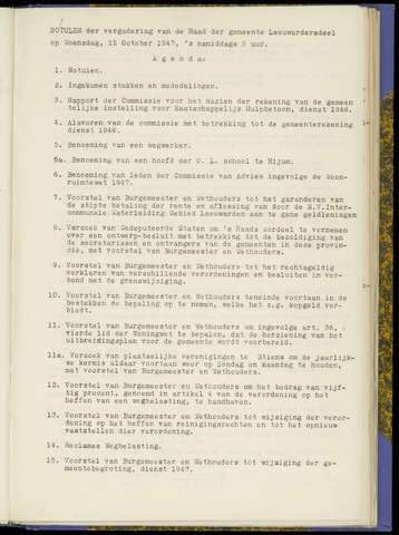Notulen van de gemeenteraad van Leeuwarderadeel 1947-10-15