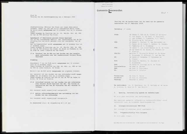Raadsverslagen van de gemeente Leeuwarden, 1865-2007 (Notulen) 2006-02-27