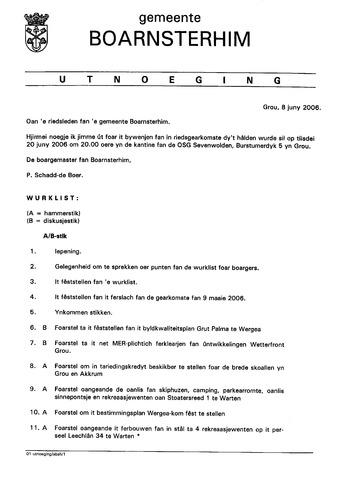 Boarnsterhim vergaderstukken gemeenteraad  2006-06-21