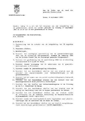 Boarnsterhim vergaderstukken gemeenteraad  1985-09-17
