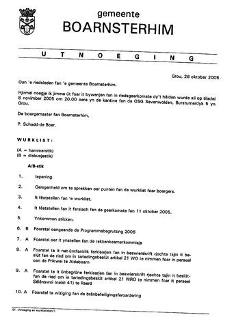 Boarnsterhim vergaderstukken gemeenteraad  2005-11-08