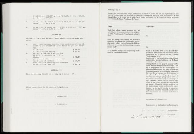 Raadsverslagen van de gemeente Leeuwarden, 1865-2007 (Schriftelijke vragen) 1990