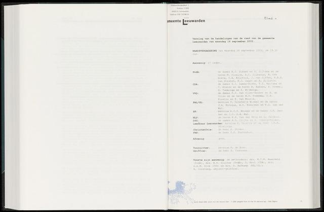 Raadsverslagen van de gemeente Leeuwarden, 1865-2007 (Notulen) 2002-09-16