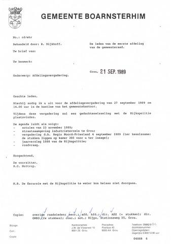 Boarnsterhim vergaderstukken gemeenteraad  1989-09-27