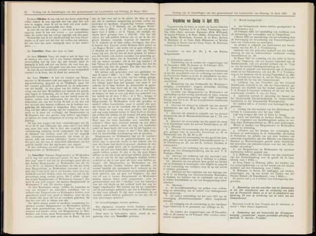 Raadsverslagen van de gemeente Leeuwarden, 1865-2007 (Notulen) 1931-04-14