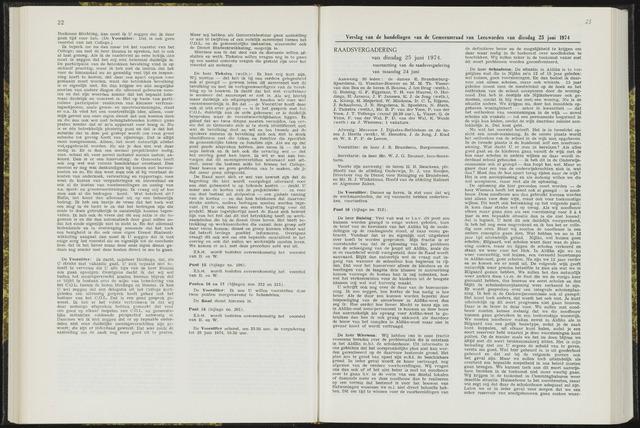 Raadsverslagen van de gemeente Leeuwarden, 1865-2007 (Notulen) 1974-06-25