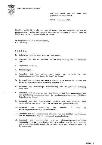 Boarnsterhim vergaderstukken gemeenteraad  1987-03-17