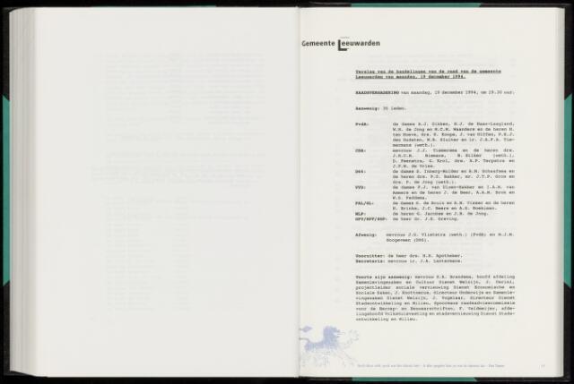 Raadsverslagen van de gemeente Leeuwarden, 1865-2007 (Notulen) 1994-12-19