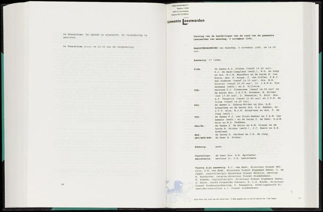 Raadsverslagen van de gemeente Leeuwarden, 1865-2007 (Notulen) 1995-11-06