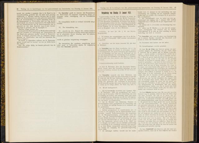 Raadsverslagen van de gemeente Leeuwarden, 1865-2007 (Notulen) 1921-01-25