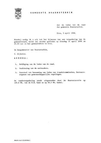 Boarnsterhim vergaderstukken gemeenteraad  1998-04-14