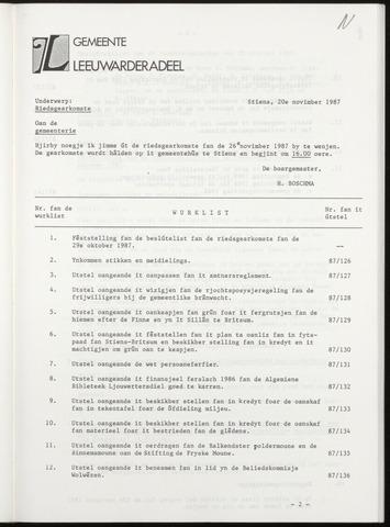 Notulen van de gemeenteraad van Leeuwarderadeel 1987-11-26