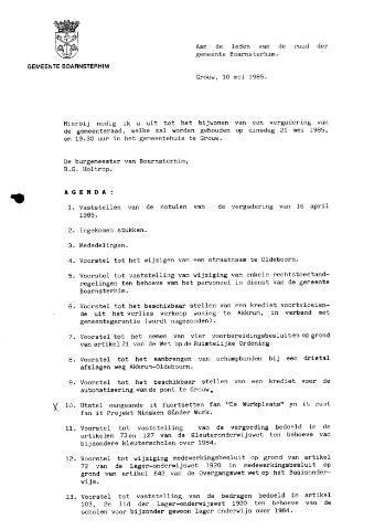 Boarnsterhim vergaderstukken gemeenteraad  1985-05-21