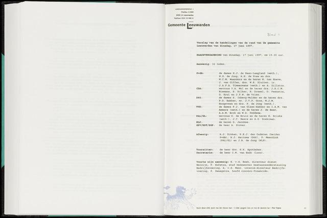 Raadsverslagen van de gemeente Leeuwarden, 1865-2007 (Notulen) 1997-06-17