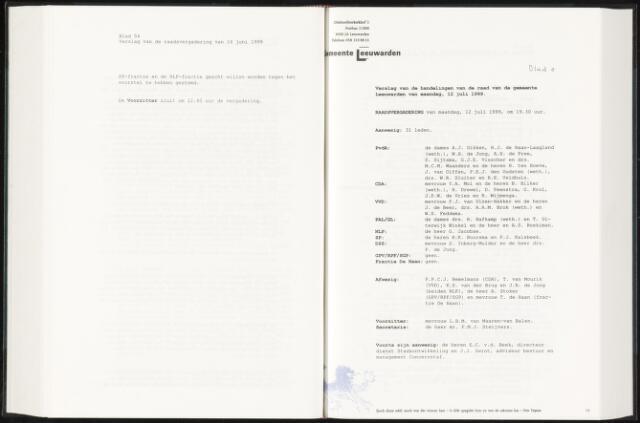Raadsverslagen van de gemeente Leeuwarden, 1865-2007 (Notulen) 1999-07-12
