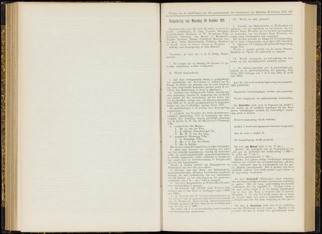 Raadsverslagen van de gemeente Leeuwarden, 1865-2007 (Notulen) 1911-10-30