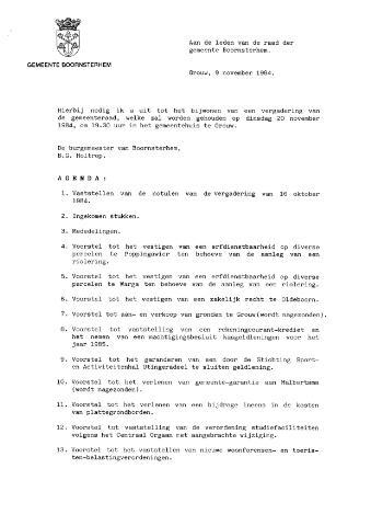Boarnsterhim vergaderstukken gemeenteraad  1984-11-20