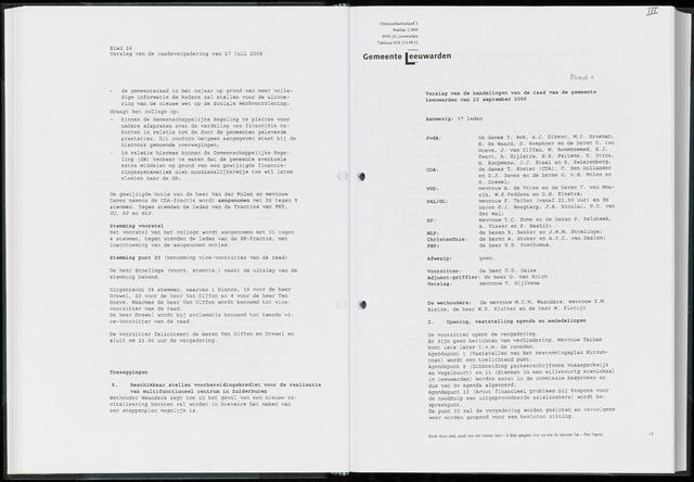 Raadsverslagen van de gemeente Leeuwarden, 1865-2007 (Notulen) 2006-09-25