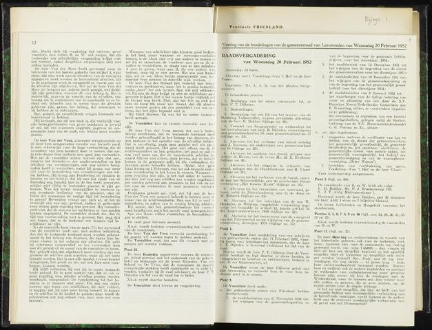 Raadsverslagen van de gemeente Leeuwarden, 1865-2007 (Notulen) 1952-02-20
