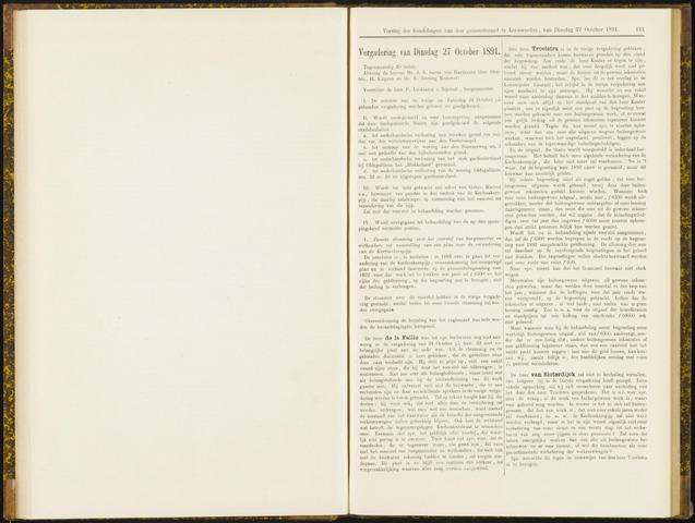 Raadsverslagen van de gemeente Leeuwarden, 1865-2007 (Notulen) 1891-10-27
