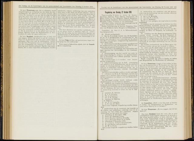 Raadsverslagen van de gemeente Leeuwarden, 1865-2007 (Notulen) 1918-10-22