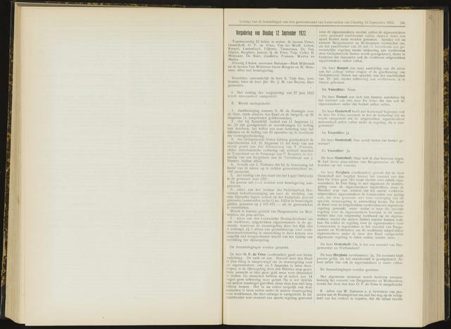 Raadsverslagen van de gemeente Leeuwarden, 1865-2007 (Notulen) 1922-09-12
