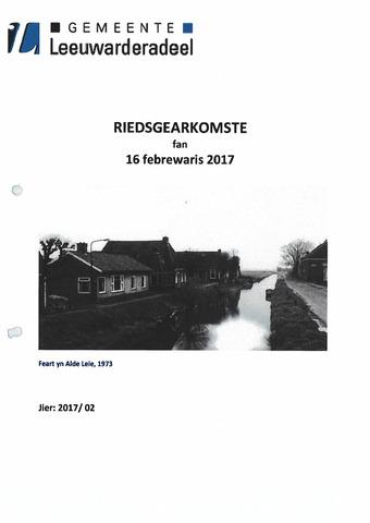 Notulen van de gemeenteraad van Leeuwarderadeel 2017-02-16
