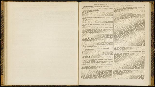 Raadsverslagen van de gemeente Leeuwarden, 1865-2007 (Notulen) 1874-07-23