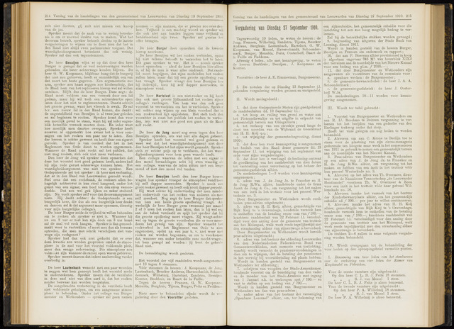 Raadsverslagen van de gemeente Leeuwarden, 1865-2007 (Notulen) 1910-09-27