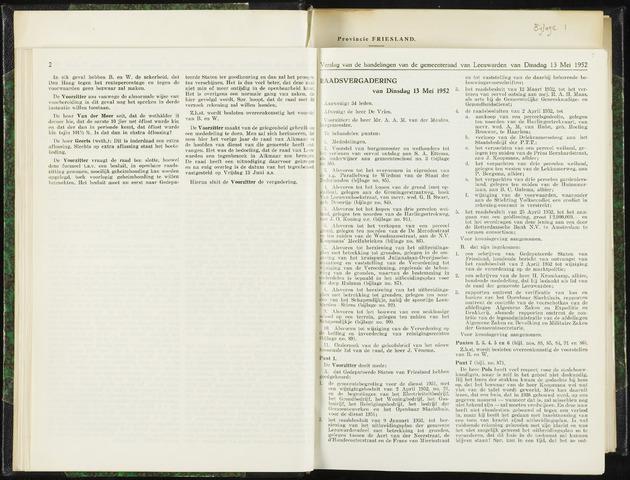 Raadsverslagen van de gemeente Leeuwarden, 1865-2007 (Notulen) 1952-05-13