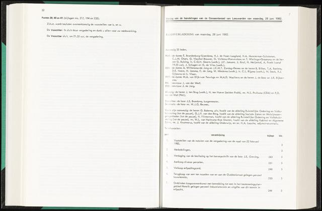Raadsverslagen van de gemeente Leeuwarden, 1865-2007 (Notulen) 1982-06-28