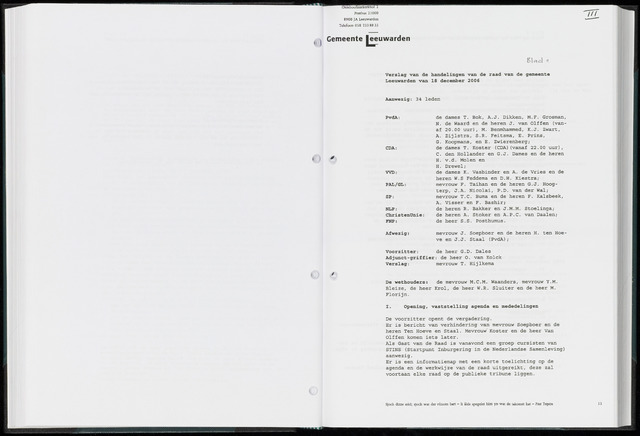 Raadsverslagen van de gemeente Leeuwarden, 1865-2007 (Notulen) 2006-12-18