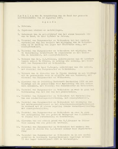 Notulen van de gemeenteraad van Leeuwarderadeel 1956-08-16