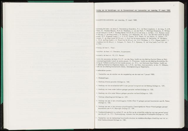 Raadsverslagen van de gemeente Leeuwarden, 1865-2007 (Notulen) 1980-03-31