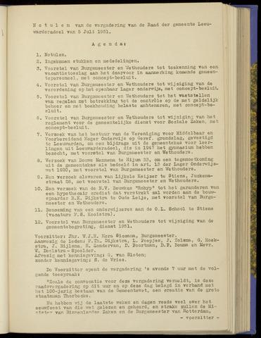 Notulen van de gemeenteraad van Leeuwarderadeel 1951-07-05