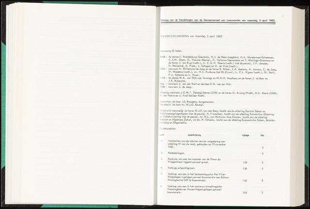 Raadsverslagen van de gemeente Leeuwarden, 1865-2007 (Notulen) 1982-04-05