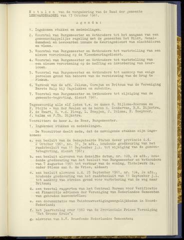 Notulen van de gemeenteraad van Leeuwarderadeel 1961-10-13