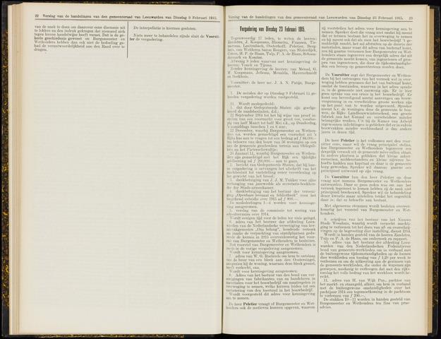 Raadsverslagen van de gemeente Leeuwarden, 1865-2007 (Notulen) 1915-02-23