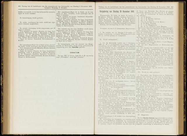 Raadsverslagen van de gemeente Leeuwarden, 1865-2007 (Notulen) 1909-11-23