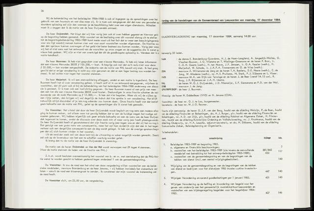 Raadsverslagen van de gemeente Leeuwarden, 1865-2007 (Notulen) 1984-12-17