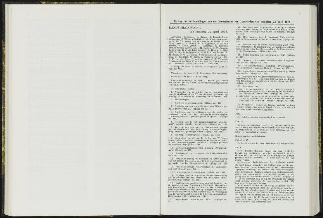 Raadsverslagen van de gemeente Leeuwarden, 1865-2007 (Notulen) 1974-04-22