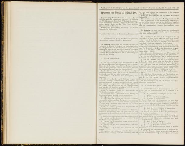 Raadsverslagen van de gemeente Leeuwarden, 1865-2007 (Notulen) 1909-02-23