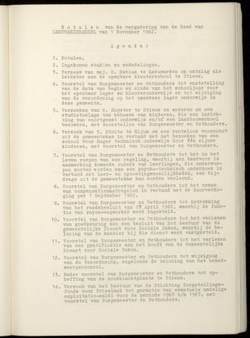 Notulen van de gemeenteraad van Leeuwarderadeel 1962-11-01