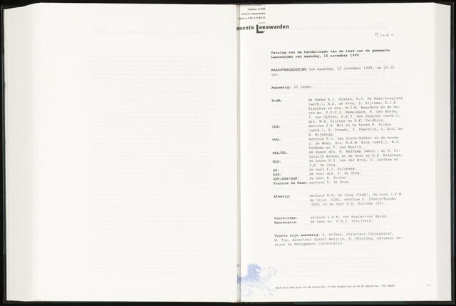 Raadsverslagen van de gemeente Leeuwarden, 1865-2007 (Notulen) 1999-11-15