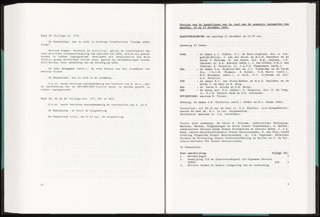 Raadsverslagen van de gemeente Leeuwarden, 1865-2007 (Notulen) 1990-12-10