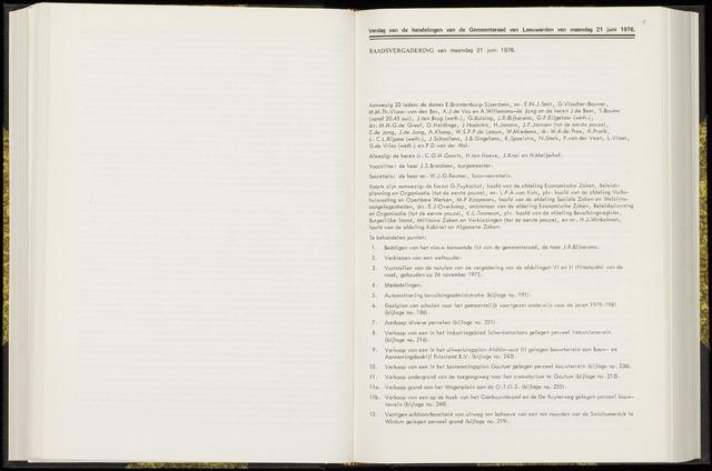 Raadsverslagen van de gemeente Leeuwarden, 1865-2007 (Notulen) 1976-06-21