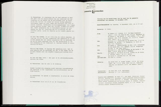 Raadsverslagen van de gemeente Leeuwarden, 1865-2007 (Notulen) 1995-12-18