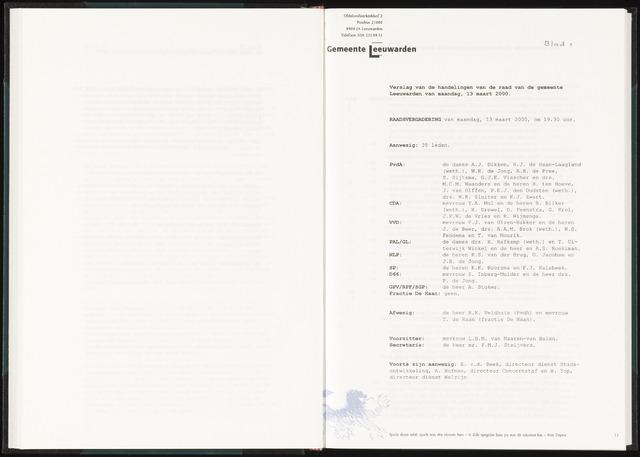 Raadsverslagen van de gemeente Leeuwarden, 1865-2007 (Notulen) 2000-03-13